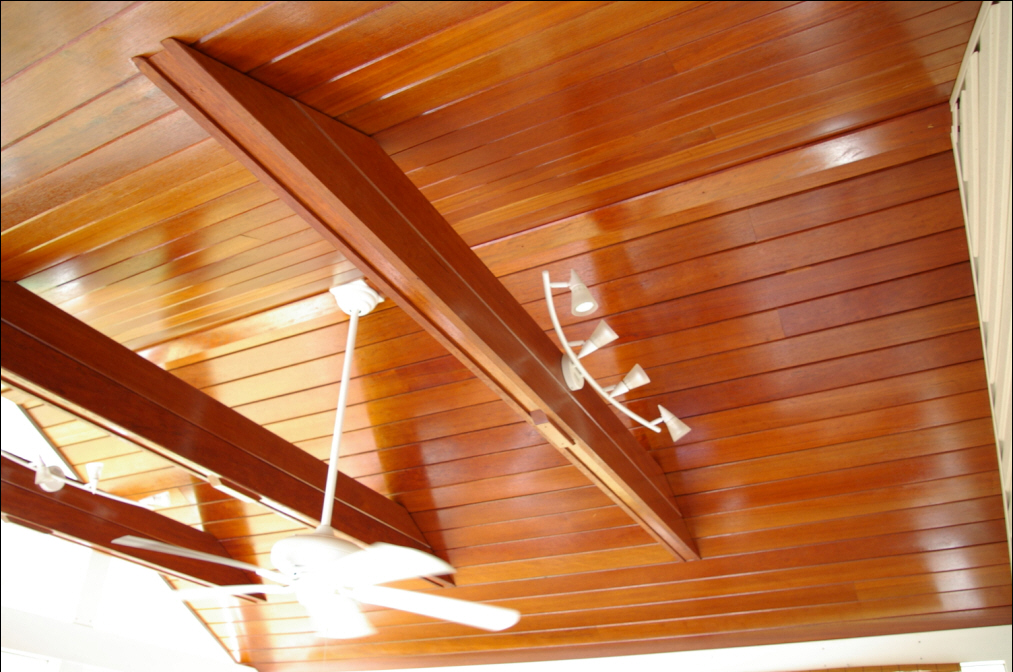 Wood decks polyurethane wood decks for Balcony ceiling